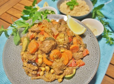 Simple lamb and chickpea dinner Moroccan style