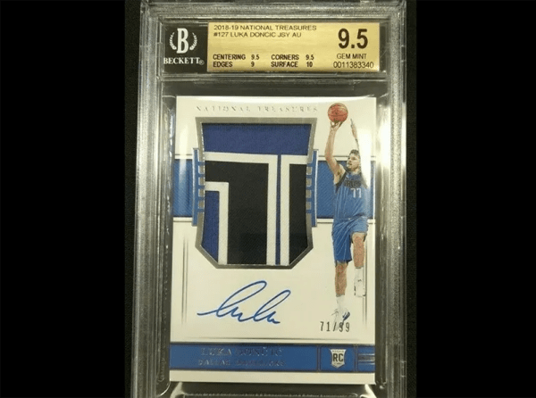 Luka Doncic rookie patch autograph National Treasures basketball card.