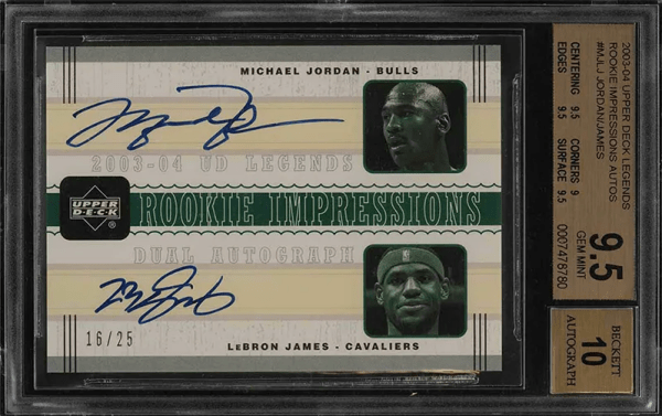 Michal Jordan Lebron James dual autograph Upper Deck basketball card