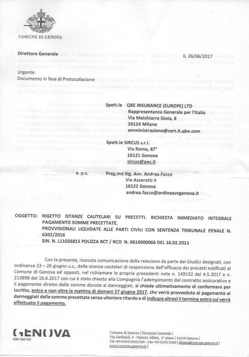 Lettera del Comune di Genova alle assicurazioni