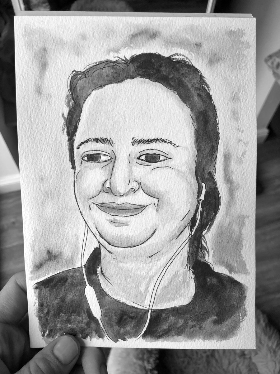 Portrait of woman smiling while wearing ear buds. Illustration.