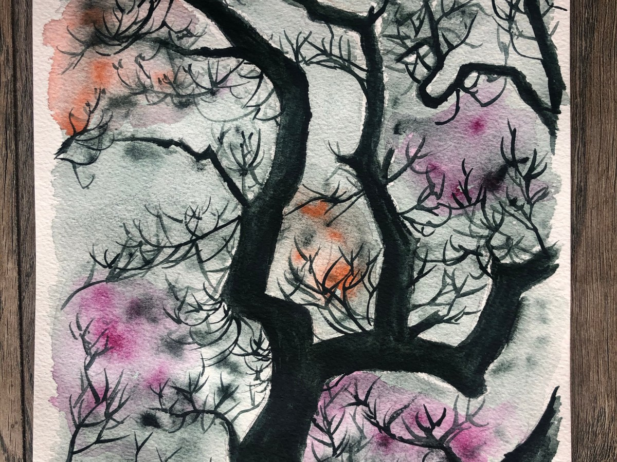 Watercolor painting of dark and twisted tree branches.