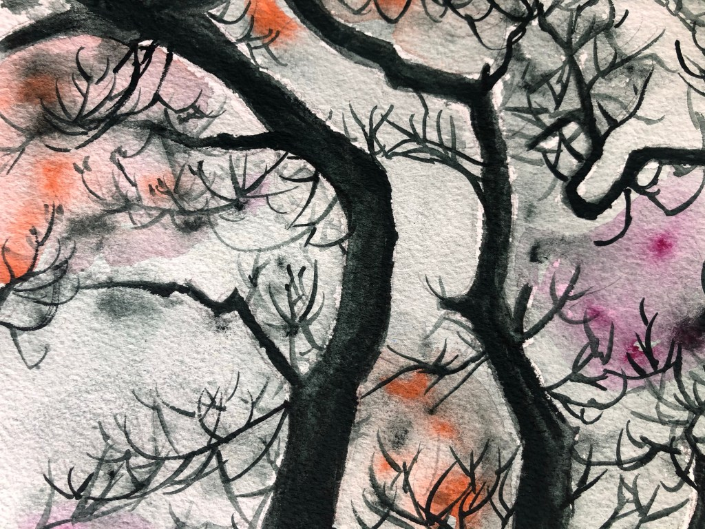Close up of tree watercolor painting.