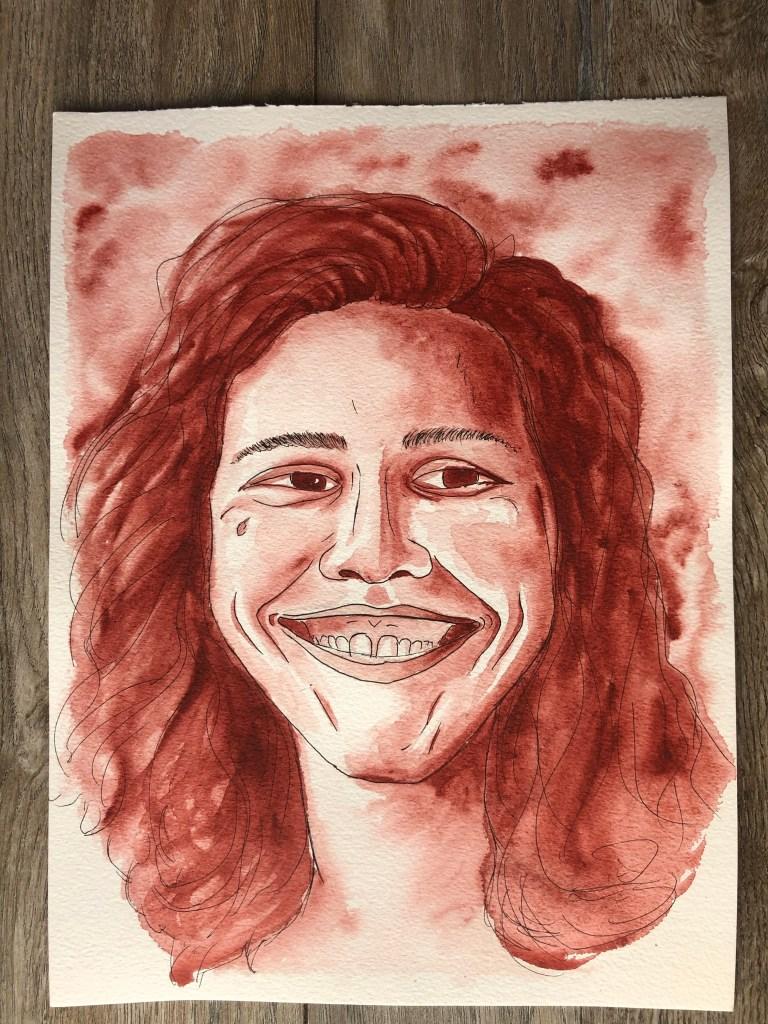 Watercolor portrait of a woman smiling.