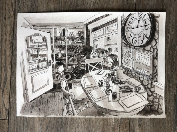 Watercolor painting of a dining room with clock on the wall.