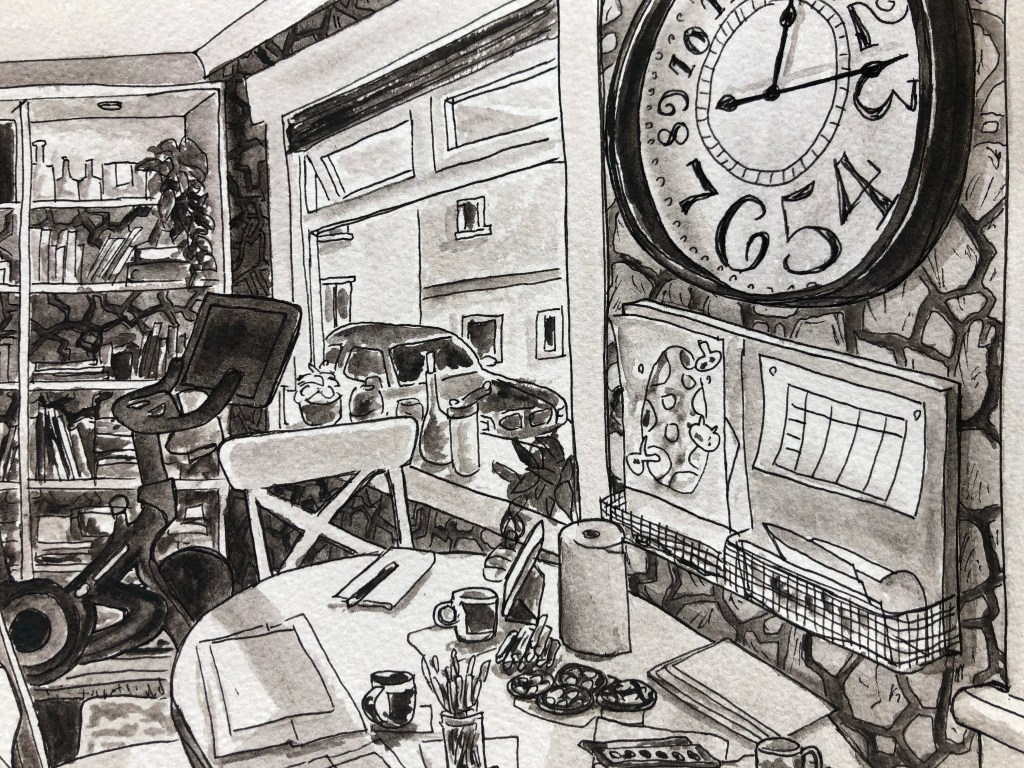 Close up of  a watercolor painting of a dining room with a clock on the wall.