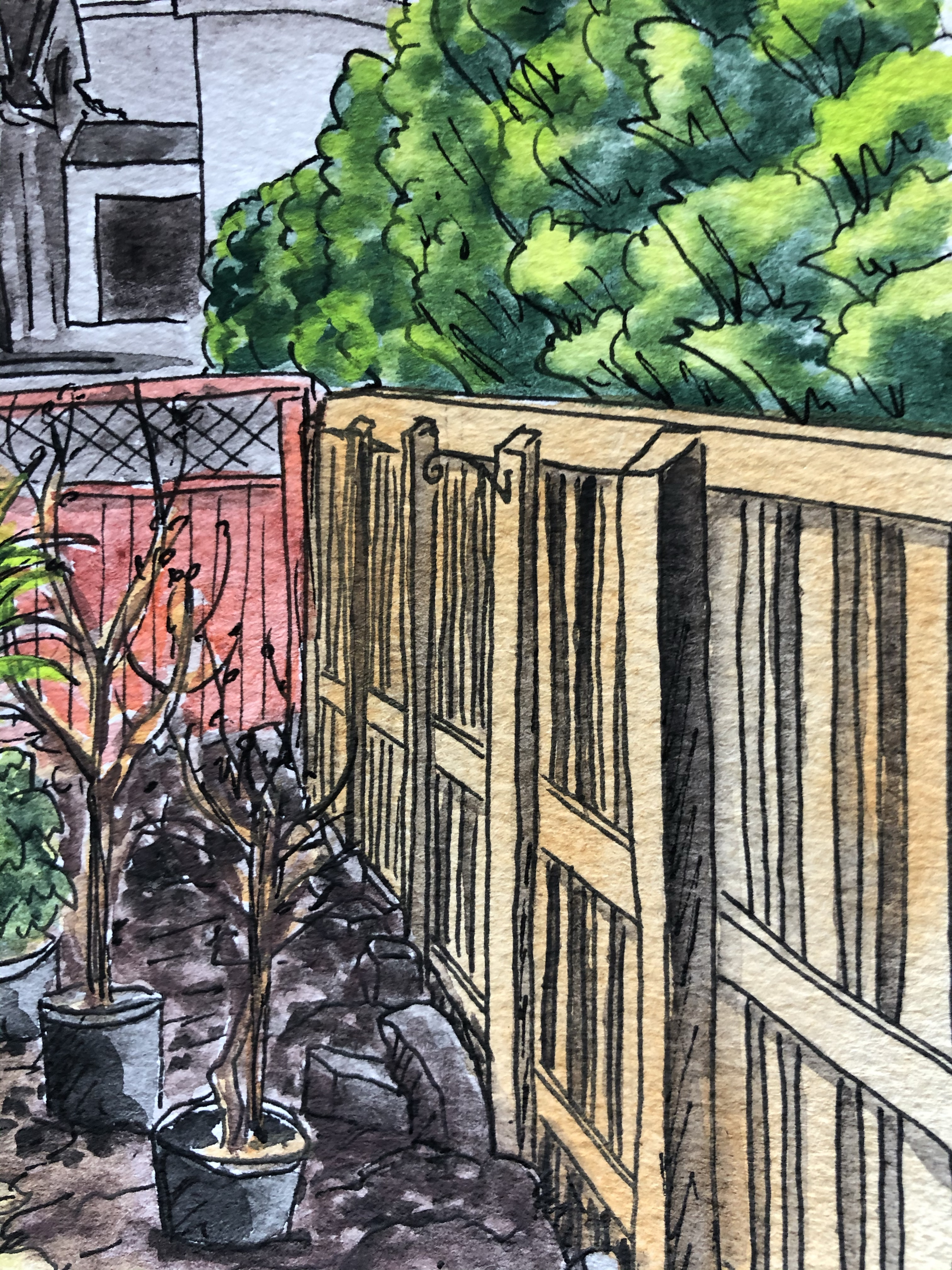 Close up of back garden painting with pots.