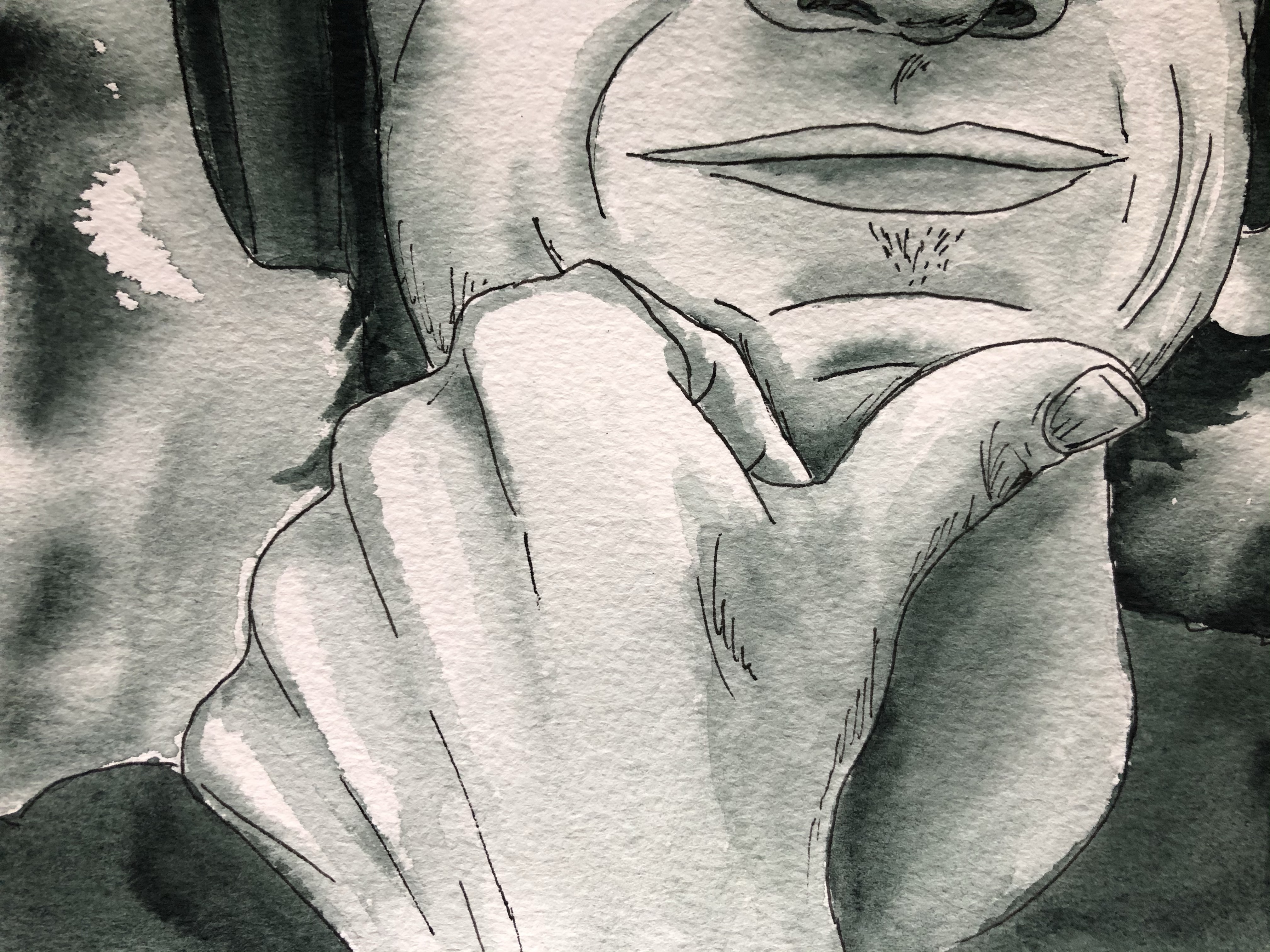 Close up of portrait painting with just the mouth and hand showing.