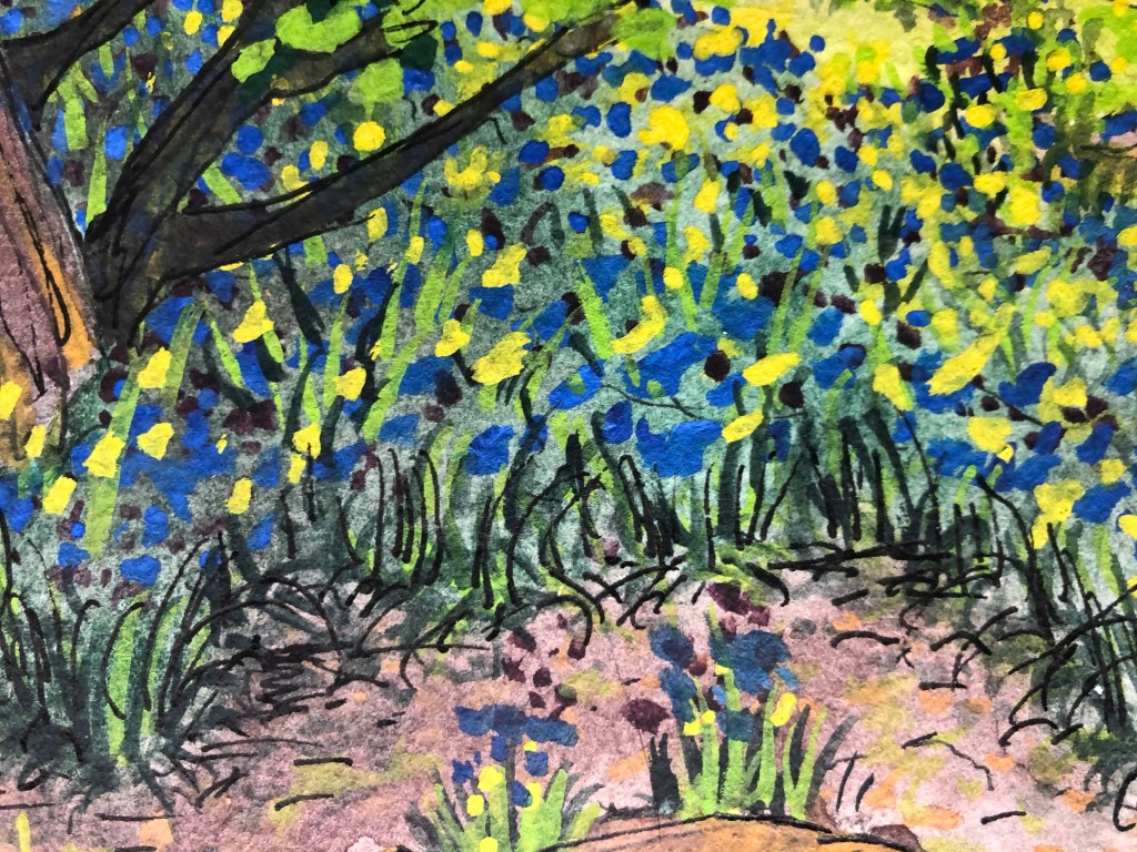 Close up of watercolor painting of field and flowers.