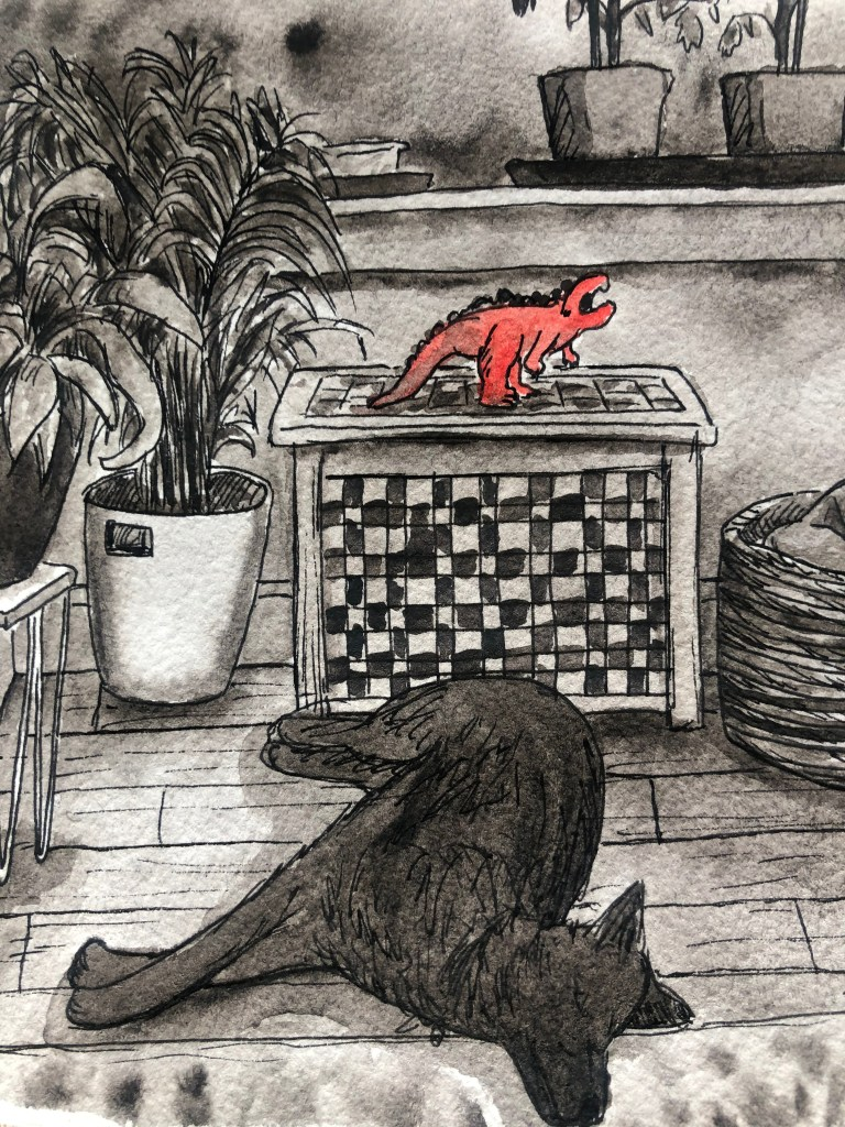Close-up of illustration of living room with dog and tomato plants.