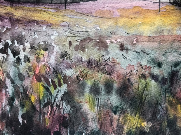 Close-up of painting of winter field in Scotland.