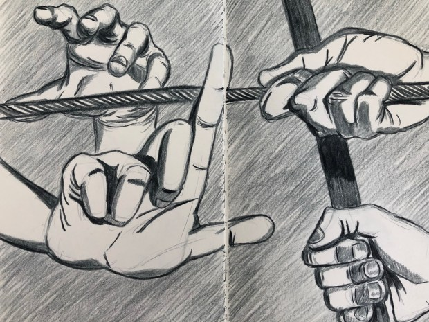 Drawing of hands in various poses.