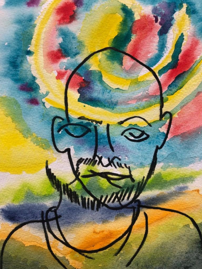 Watercolor painting and contour line portrait.