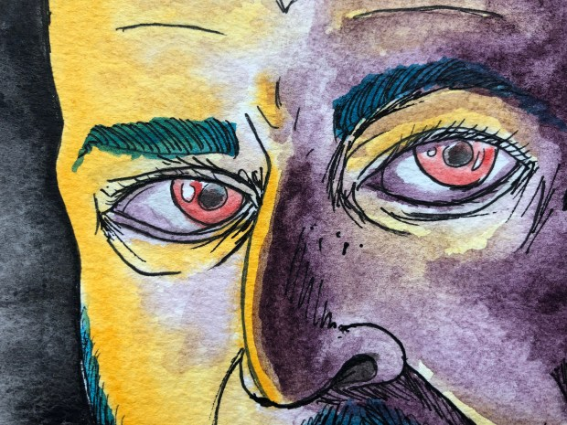 Close up of watercolor self portrait in purple and yellow.
