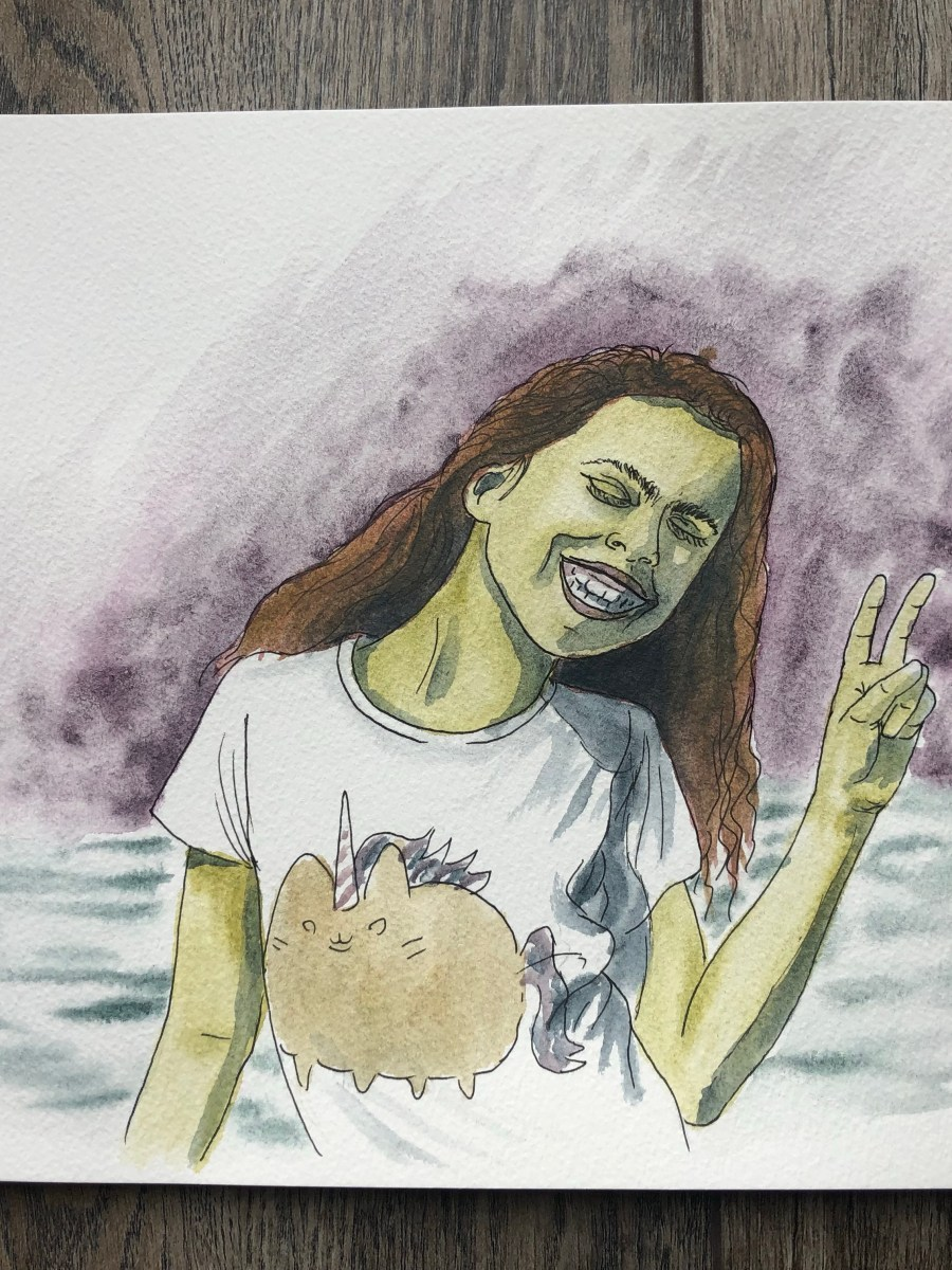 Watercolor figure drawing of girl giving a peace sign.