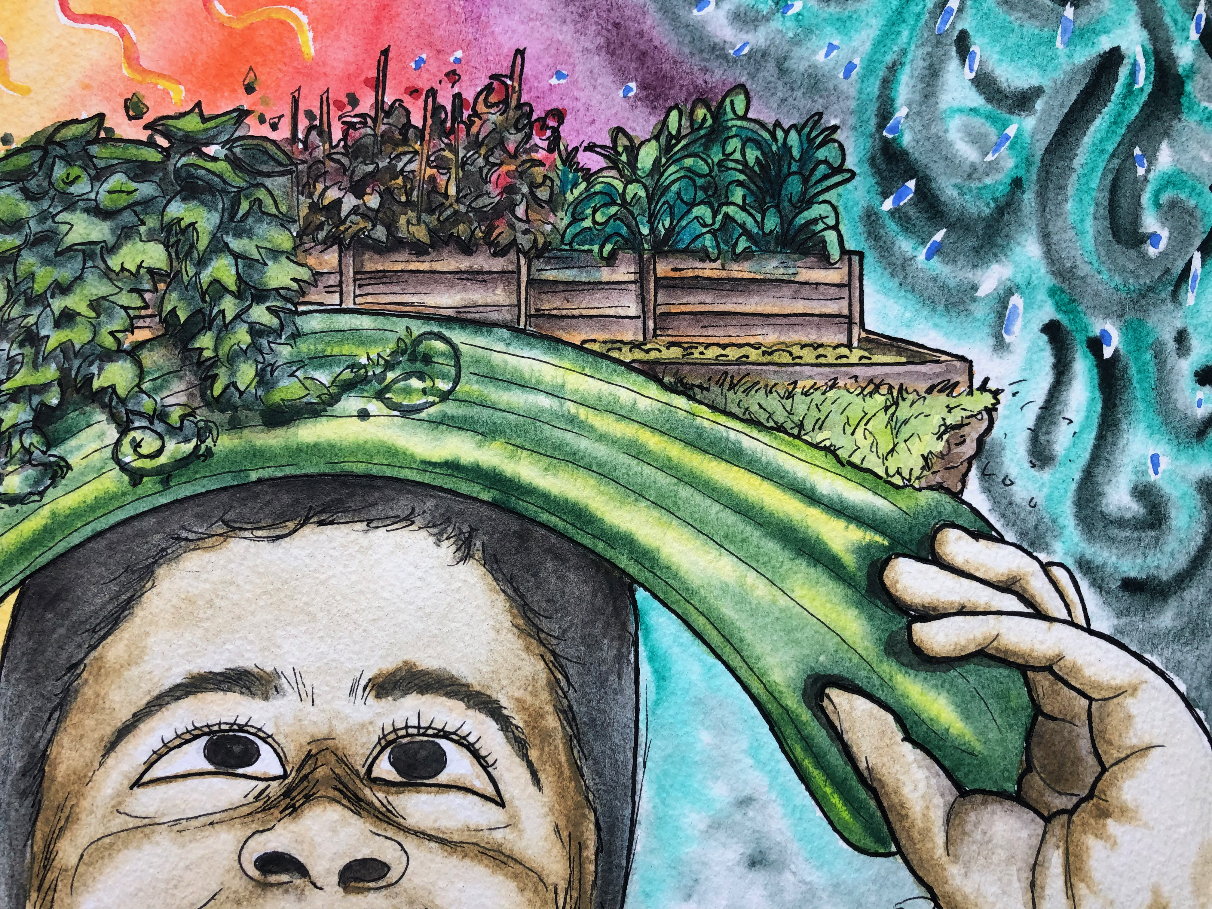 Close-up of a abstract watercolor painting of Sam with garden beds overhead.
