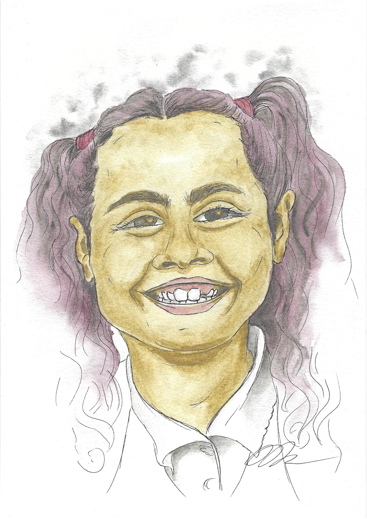 Watercolor portrait of Vivian on the first day of school.