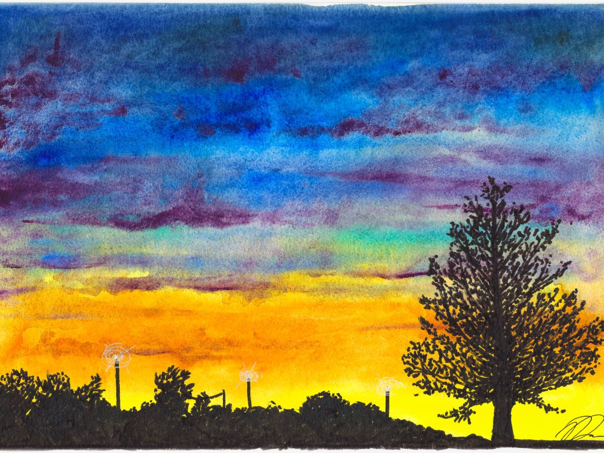 Watercolor painting of the evening sky and silhouettes of trees.