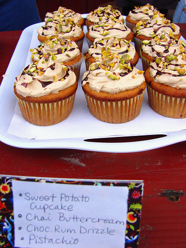 A crowd favorite, all 3 batches of my Sweet Potato Cupcake with Chai Buttercream, Chocolate Rum Drizzle and Pistachio disappeared halfway through the competition...the first of any of the 5 pro competitors!