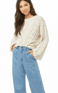Forever 21 Open Knit Chenille Sweater cream