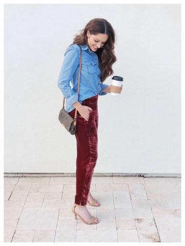 Petite Fashion Blogger in Jcrew Velvet Pant