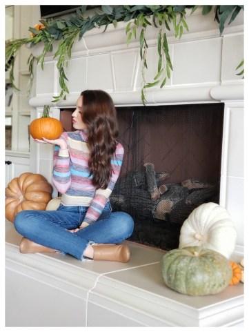 Petite Fashion Blogger Five Foot Feminine in Rainbow Stripe Top
