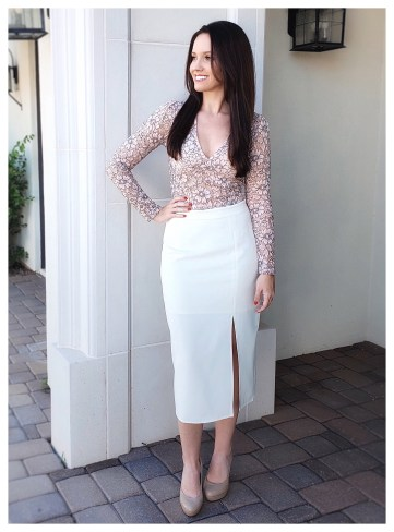 Petite Fashion Blogger Five Foot Feminine in Topshop Lace Top