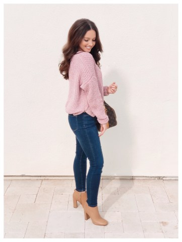 Petite Fashion Blogger Five Foot Feminine in Charlotte Russe Chenille Sweater