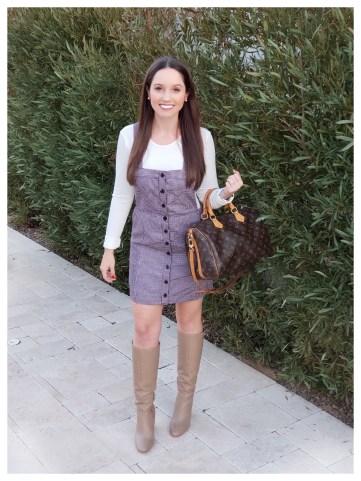 Petite Fashion Blogger Five Foot Feminine in Forever21 Plaid Overalls