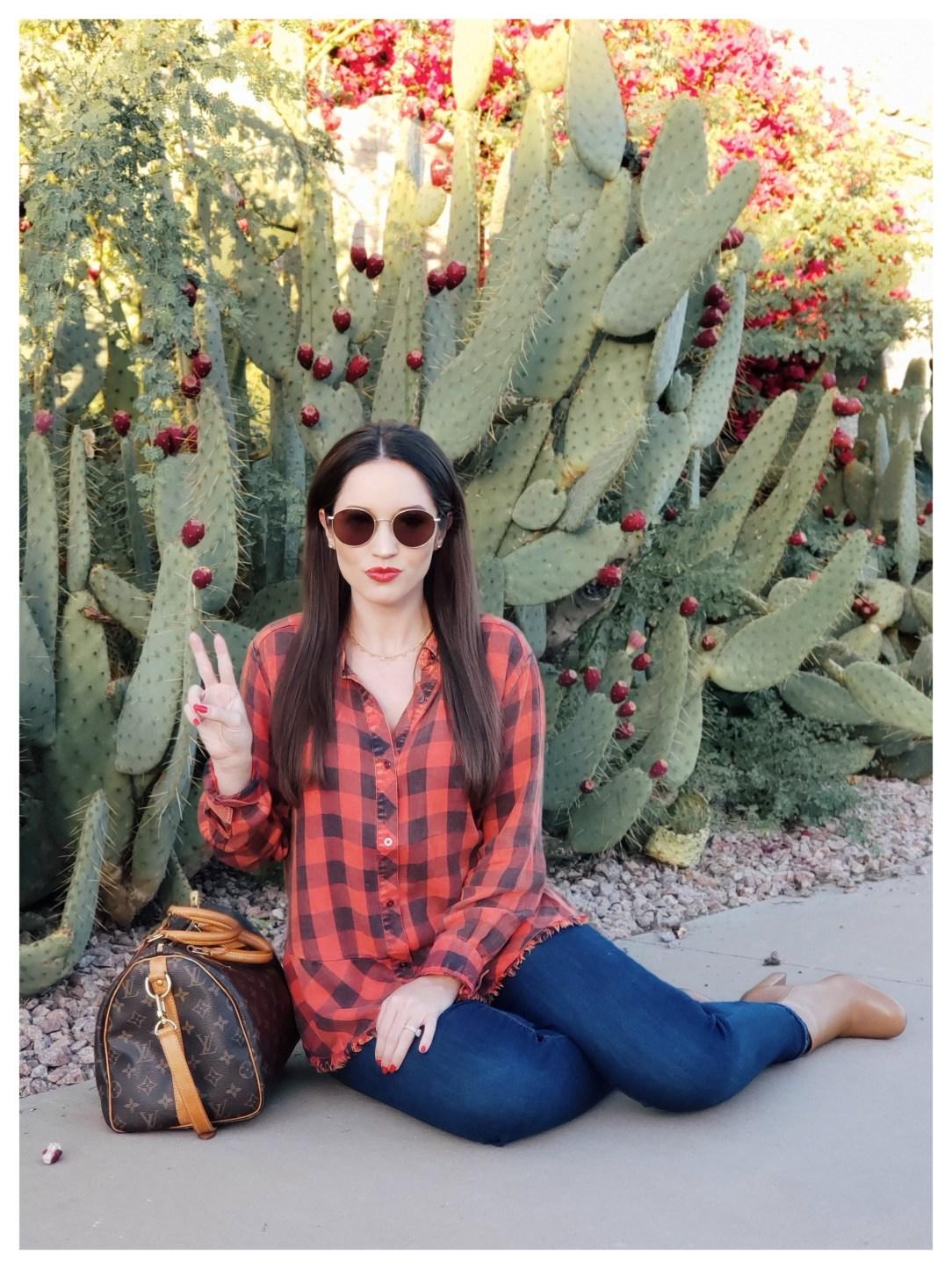 Petite Fashion Blogger Five Foot Feminine in Wit & Wisdom Peplum Plaid Shirt