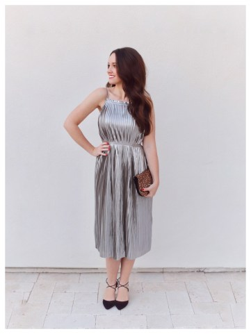 Petite Fashion Bloggers FiveFootFeminine in Banana Republic Silver Pleated Fit-and-Flare Dress