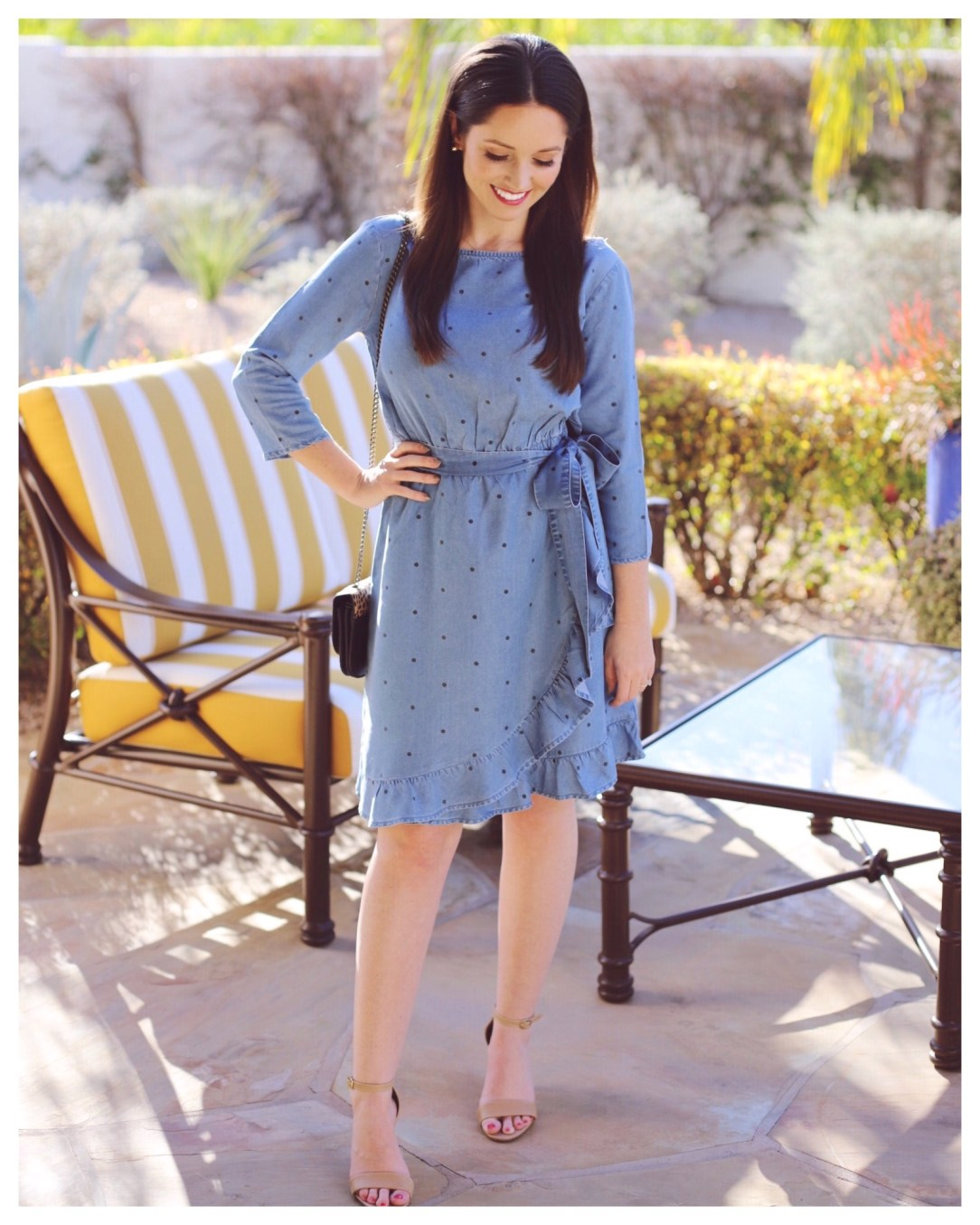 Five Foot Feminine in Gap Faux-Wrap Ruffle Hem Dress