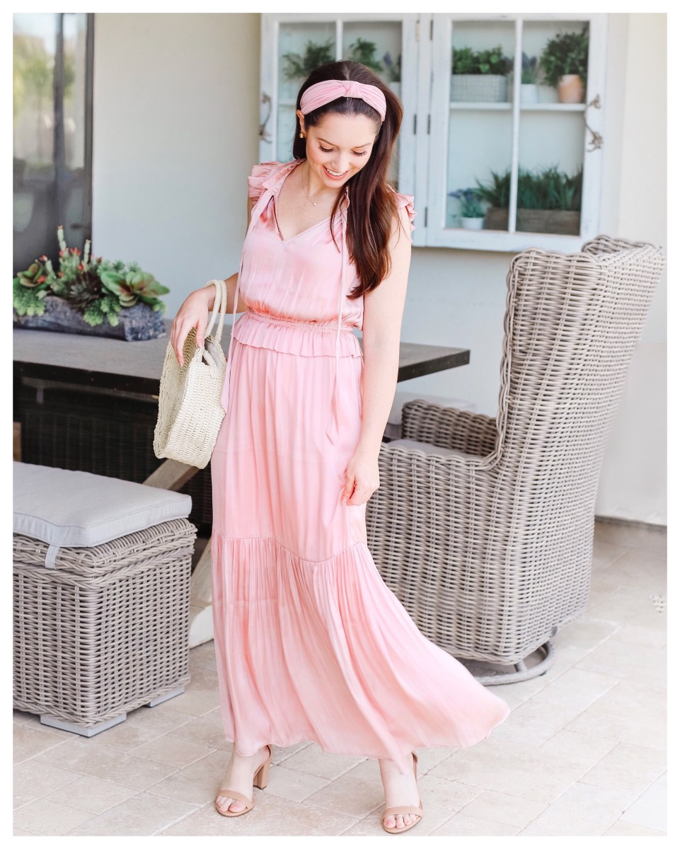 Pink Satin Maxi Dress Five Foot Feminine