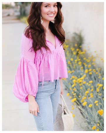 FiveFootFeminine in Free People Beaumont Mews Cropped Peasant Top