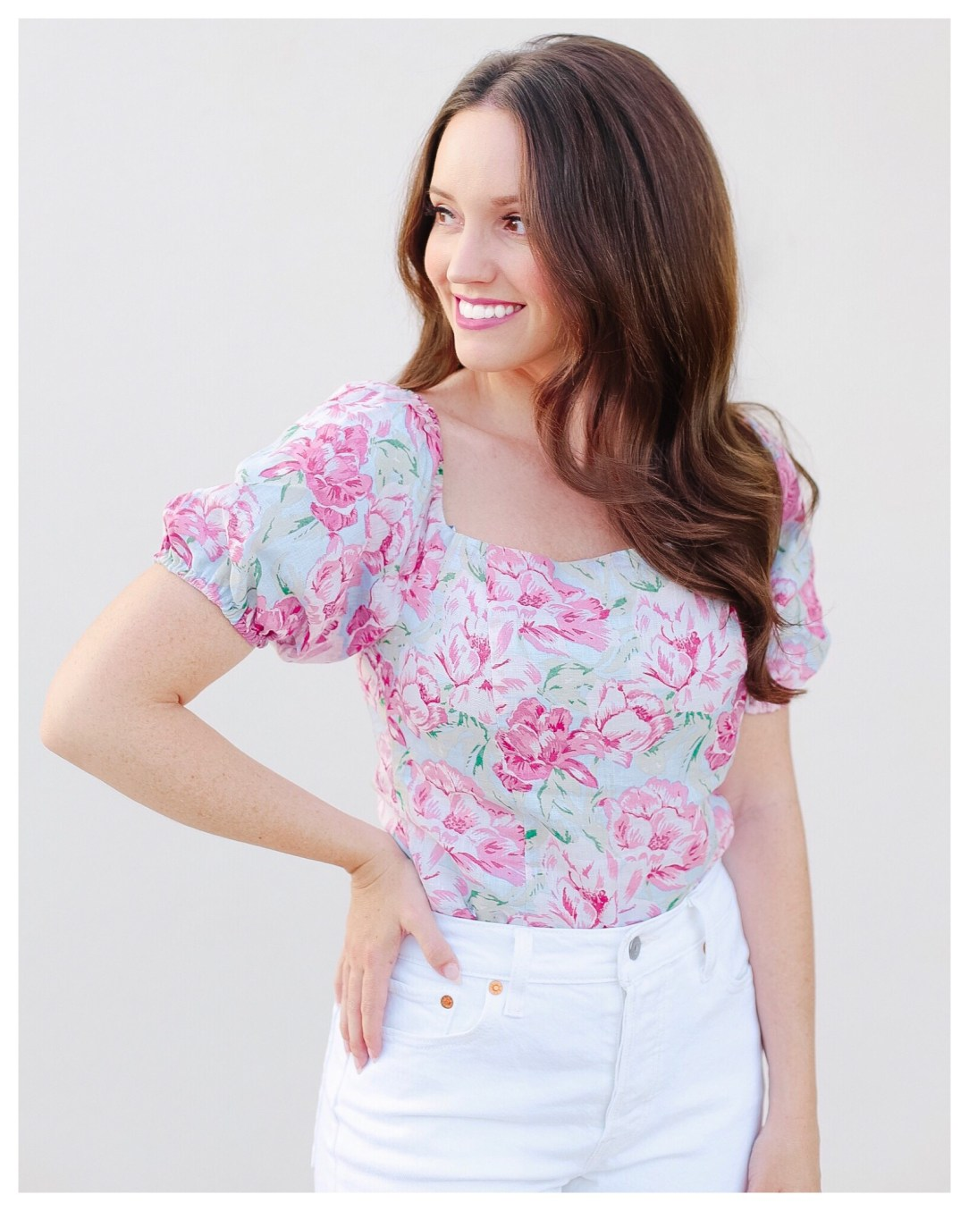 WAYF Sky Blue Floral Top on FiveFootFeminine