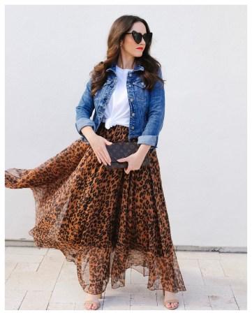 Chicwish leopard skirt on Five Foot Feminine