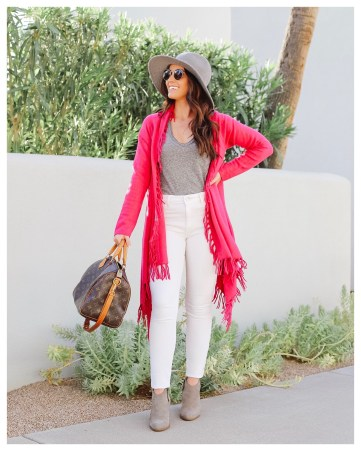 Pink Cardigan on Five Foot Feminine