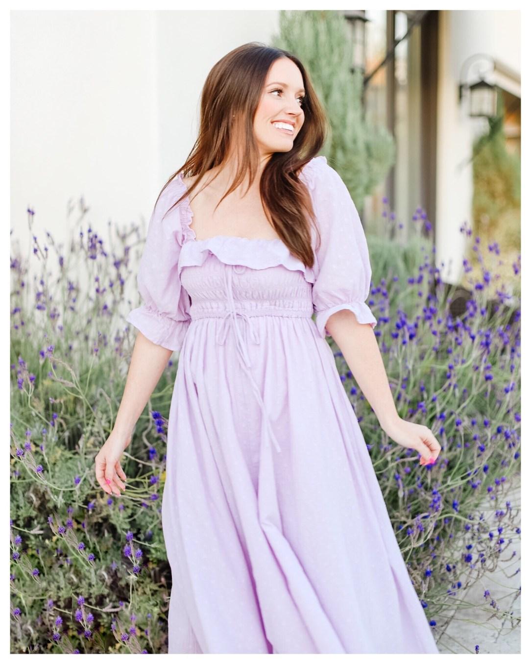 Lavender Spring Dress on Five Foot Feminine