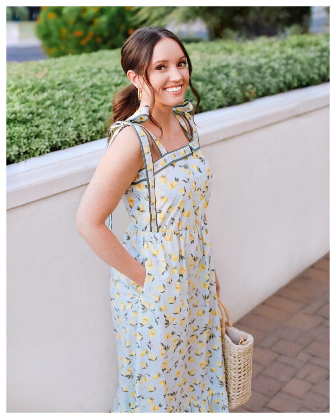 Lemon Print Dress on Five Foot Feminine