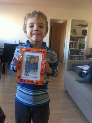 Sebastian made Adam and me this picture in kindergarden.
