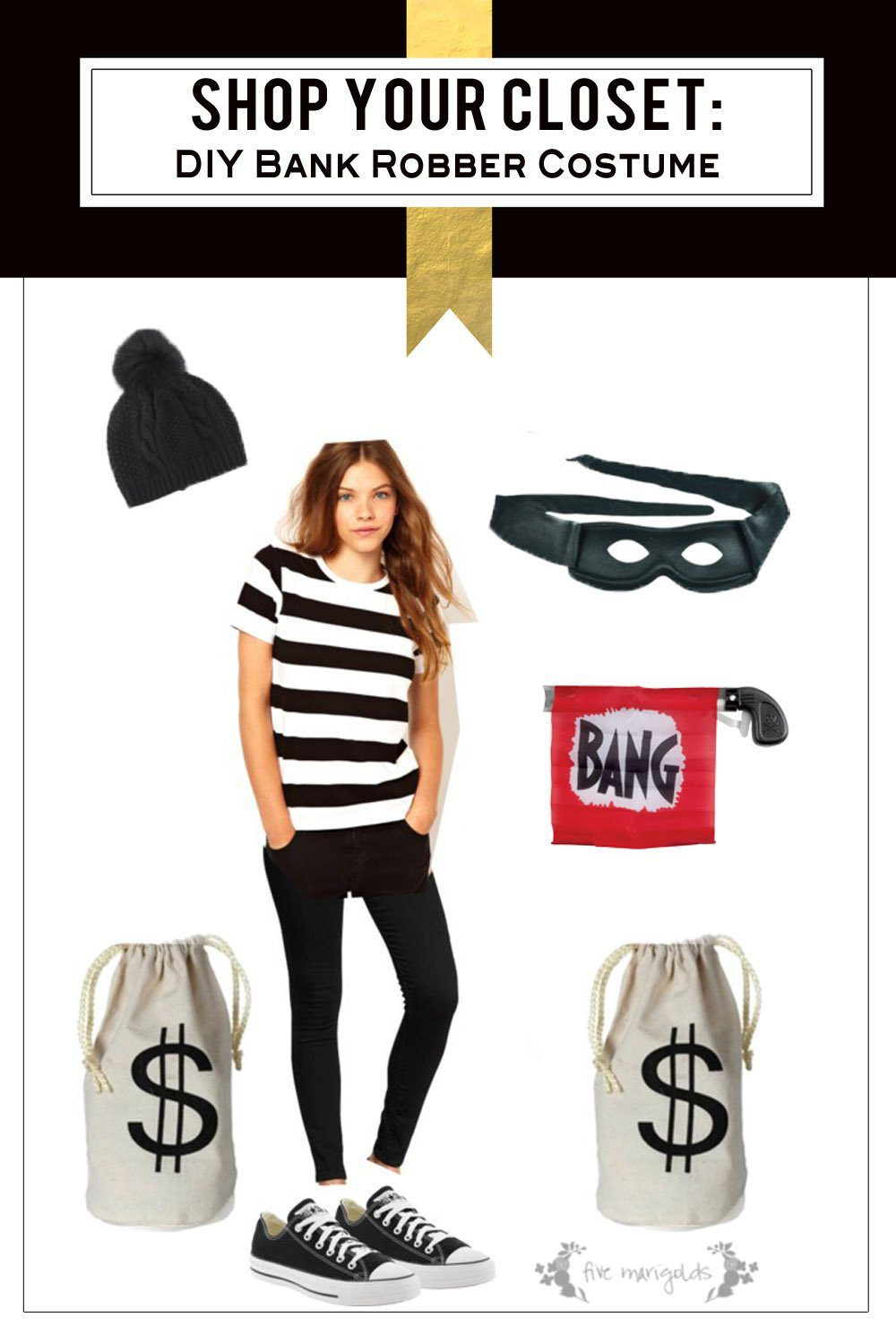 Shop your own closet for free and fabulous costumes this Halloween! Love this bank robber costume idea.