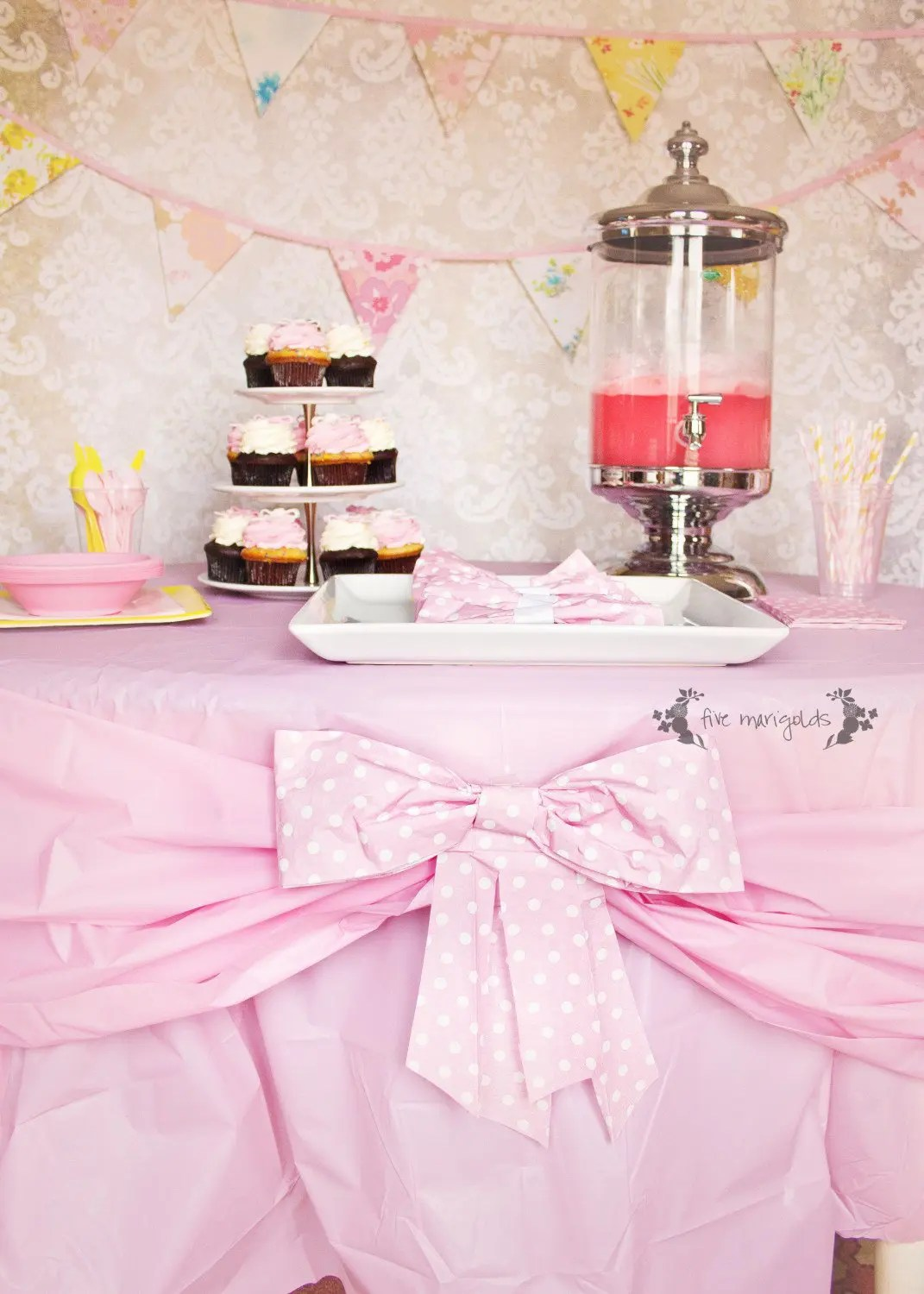 Baby Girl Bow Birthday Party Five Marigolds