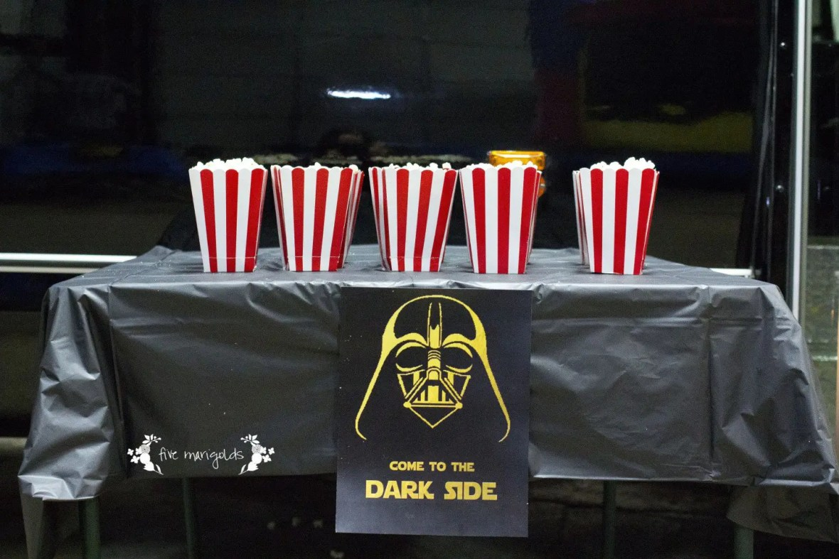 Star Wars Birthday Party Dark Side Movie Theater | www.fivemarigolds.com