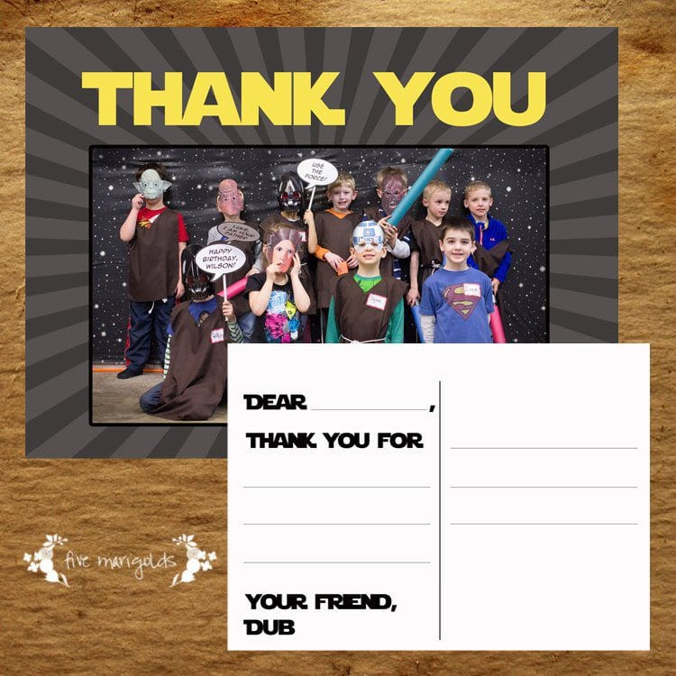 Custom Star Wars Birthday Party Custom Thank You Postcard | www.fivemarigolds.com
