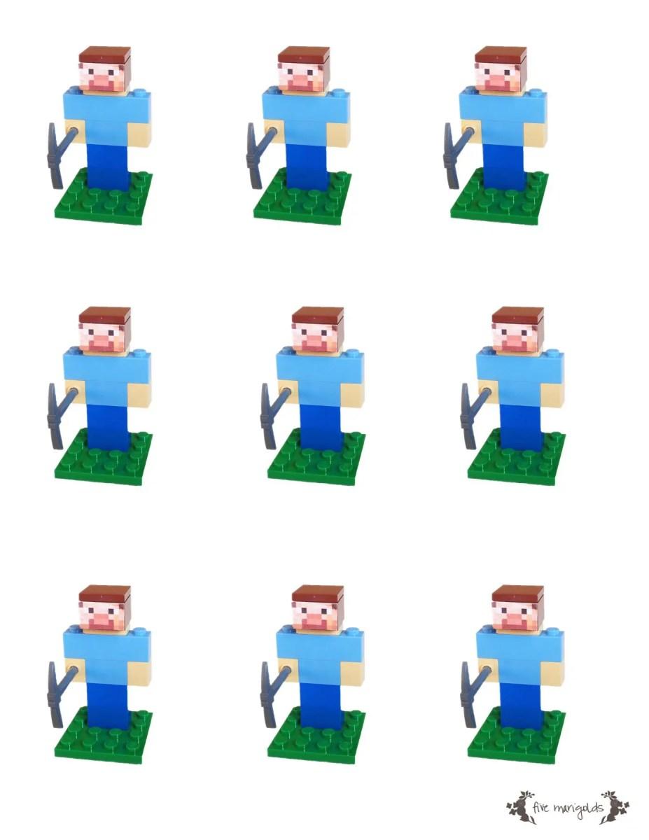 Minecraft Steve Lego Favor Insert Free Printable | Five Marigolds