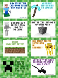 Minecraft Jokes Free Lunchbox Printables | Five Marigolds