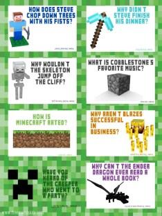 Minecraft Jokes Free Lunchbox Printables | Five Marigolds
