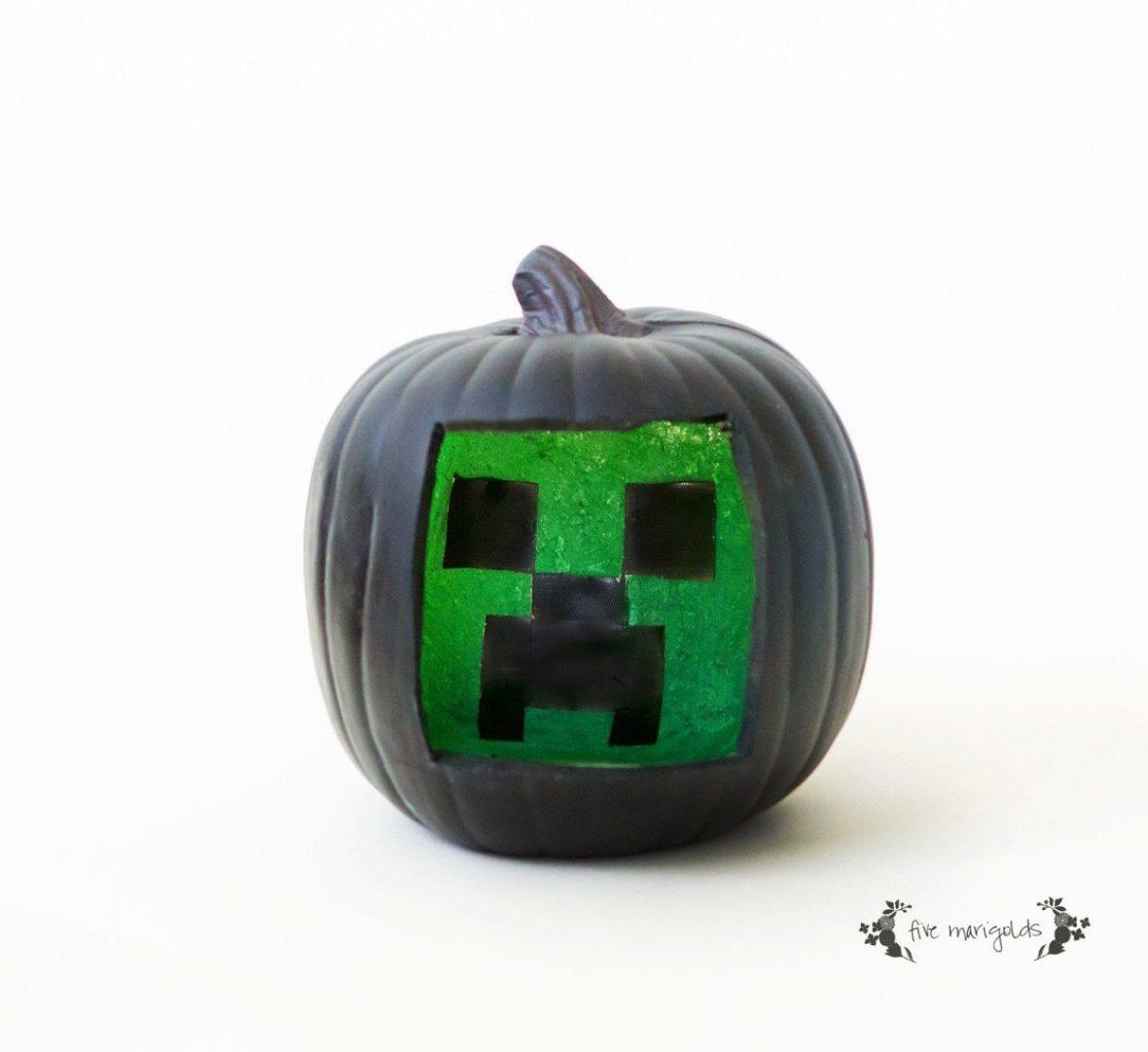 Minecraft Creeper Halloween Pumpkin | Five Marigolds
