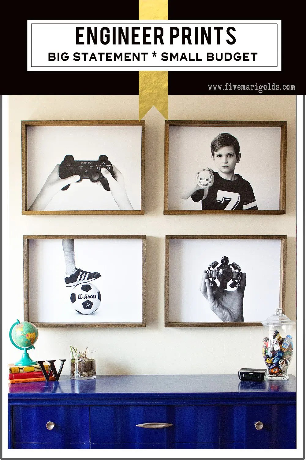 Engineer prints make a big statement on a small budget. Love these for a boy's room!