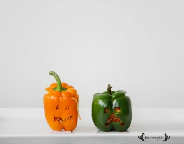 Halloween Treats Round up: Stuffed Pepper Jack-O-Lanterns and Creepers | Five Marigolds